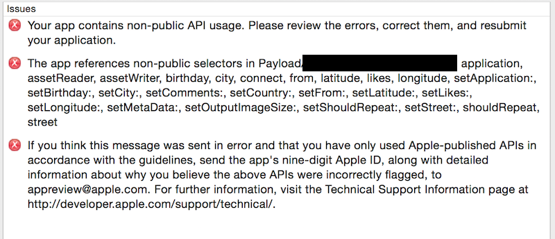 App Store Private API validation error on submission