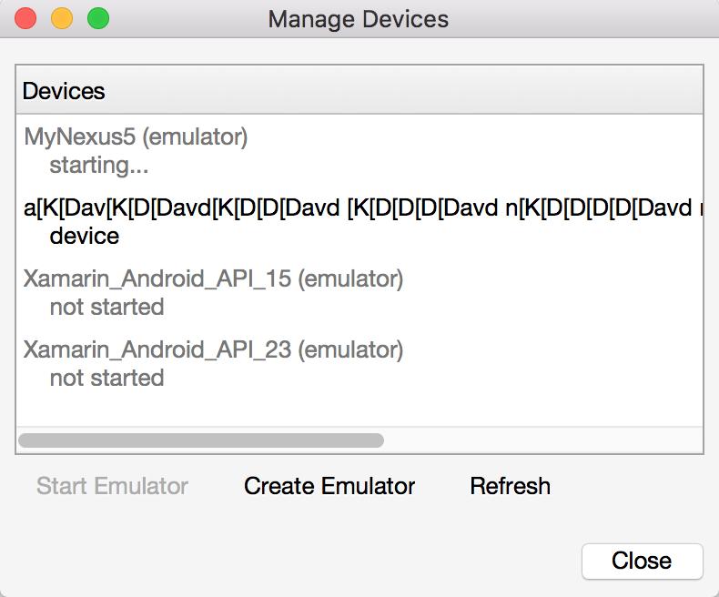 xamarin android emulator not starting