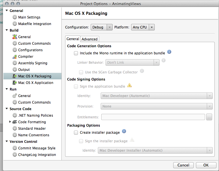 create Package for MAC OSX — Xamarin Community Forums
