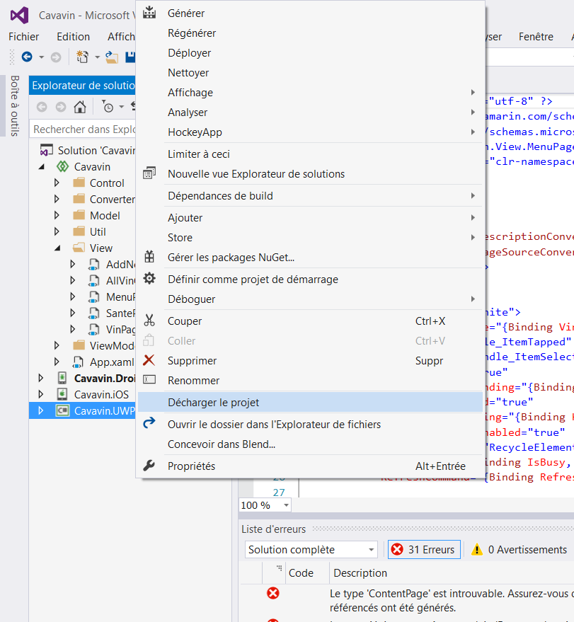 ContentPage was not found error, when creating new xamarin