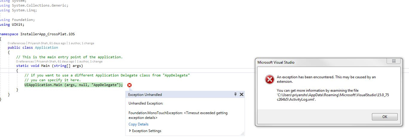 Foundation MonoTouch Exception generated — Xamarin Community