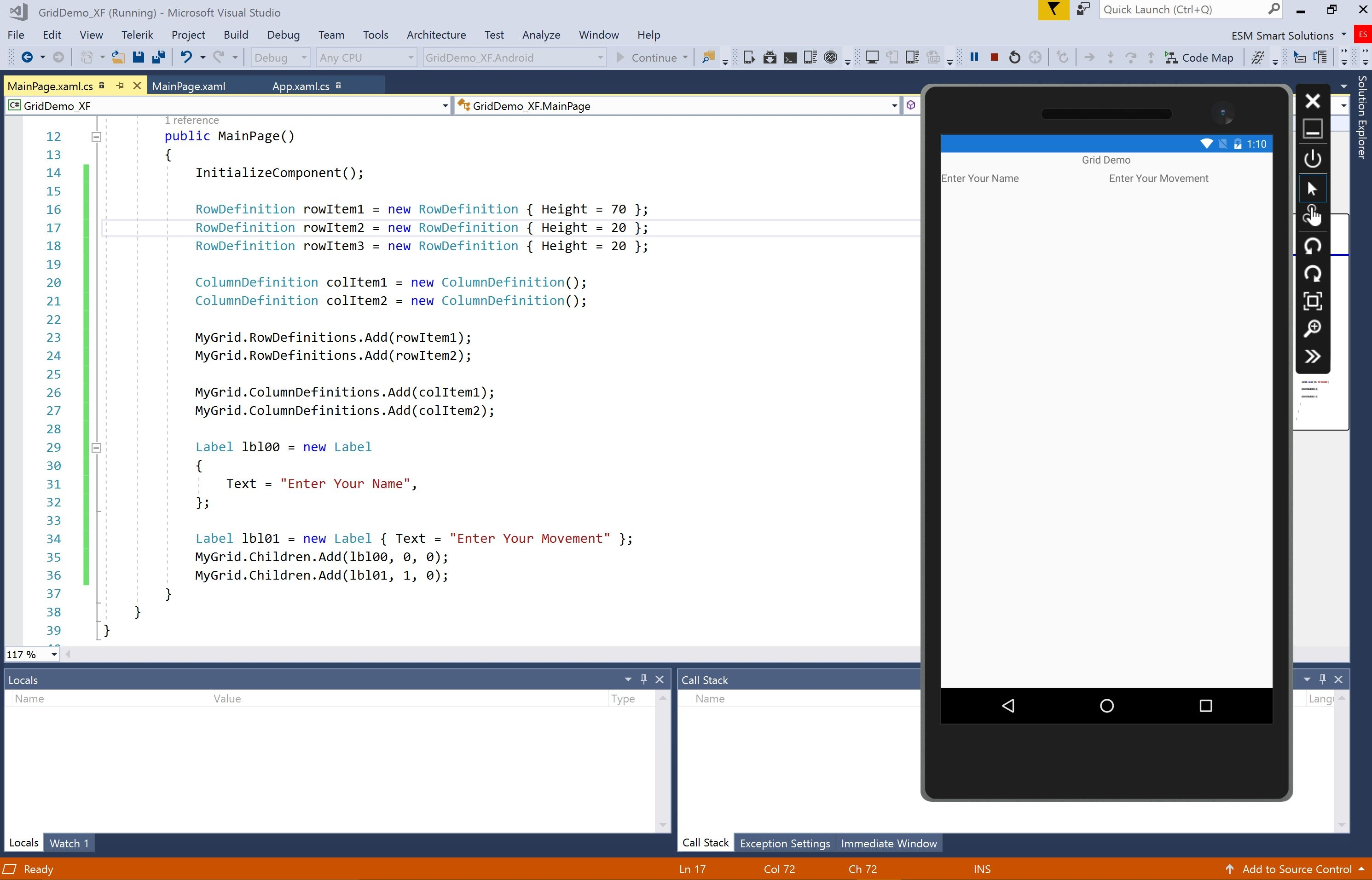 Xamarin Forms XAML :How to add automatically rows an column