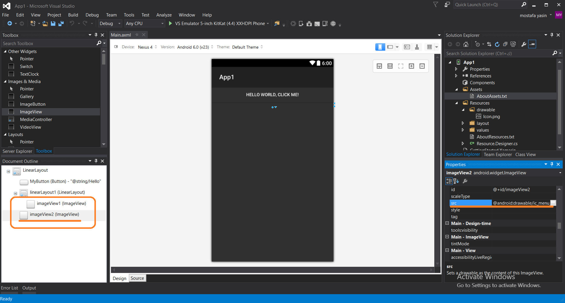 Xamarin Image In Imageview Doesn T Appear In My Design But Appear On Avd Xamarin Community Forums
