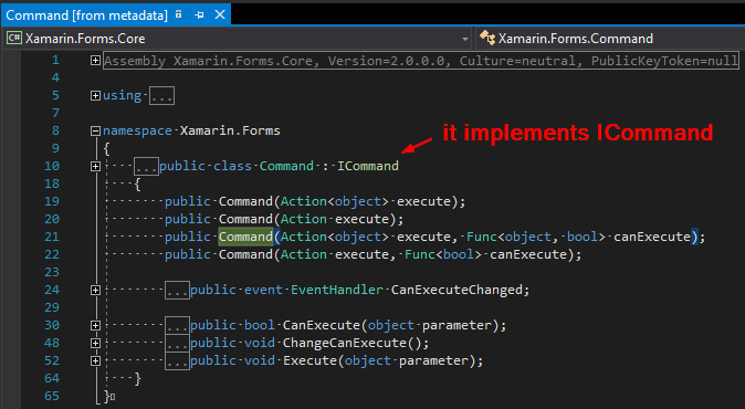 Why it does not say that Command implements ICommand in VS