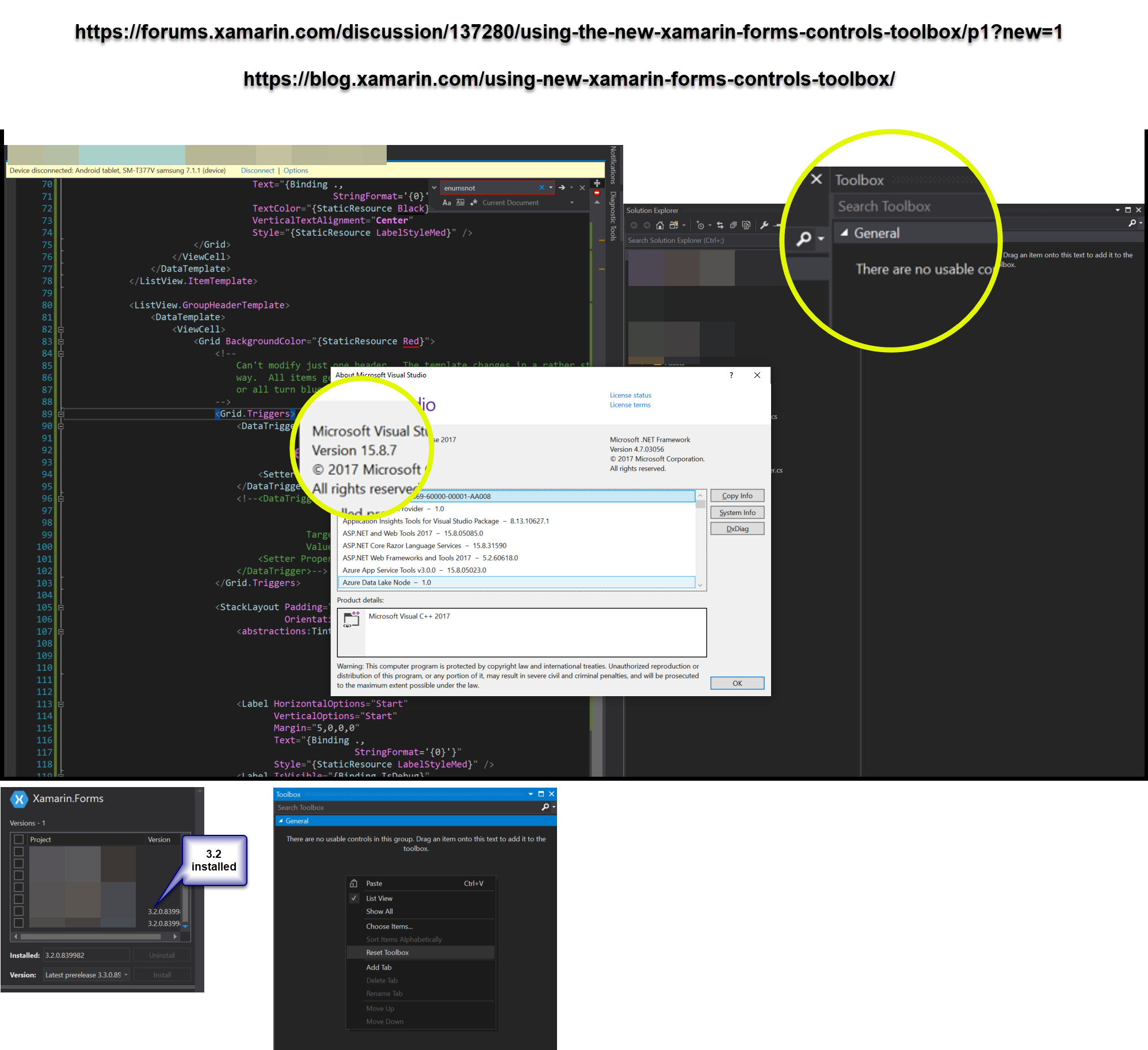 Toolbox problem in Visual Studio 2017 for xamarin — Xamarin
