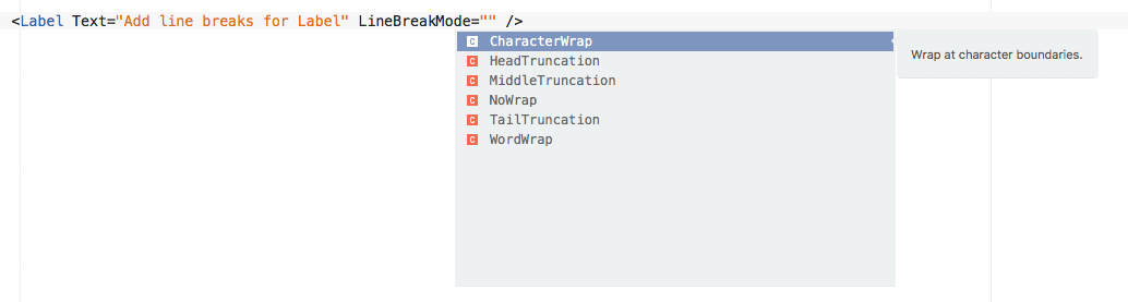 How to add line breaks in a label in Xamarin Forms using
