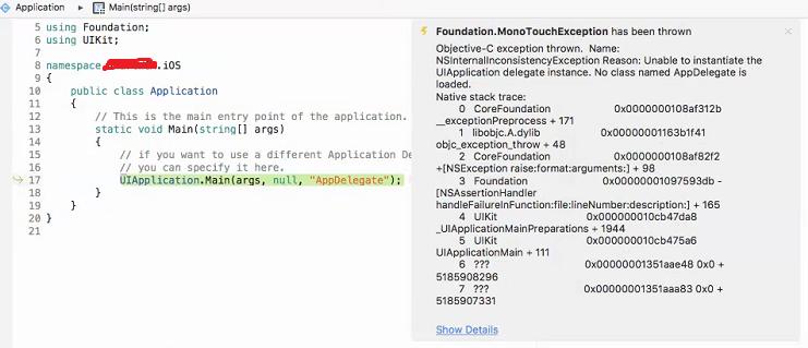 Foundation MonoTouchException: Objective-C exception thrown