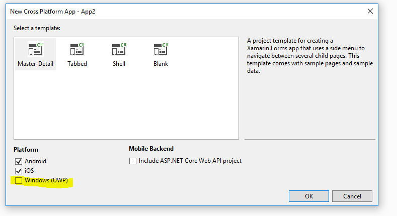 Visual Studio 2019 Preview 2: Can't create Windows UWP project using