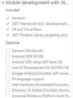 Minimal Xamarin install for Visual Studio 2017 Community — Xamarin