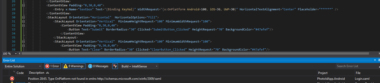 How to set Width and Height to 'Entry' tag for platform
