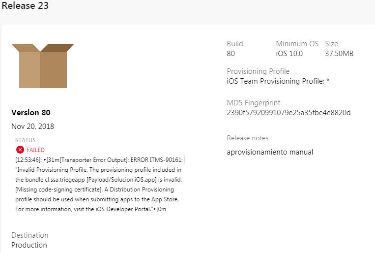 Configure AppCenter for distribute ios app - ERROR ITMS