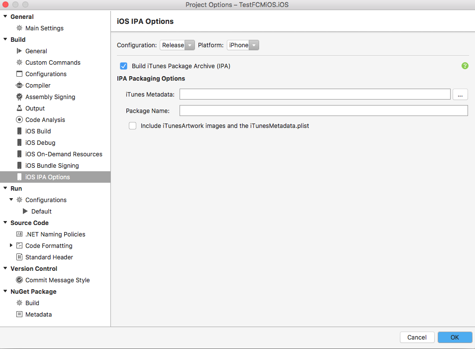 Project options disabled - Xamrine iOS installed — Xamarin