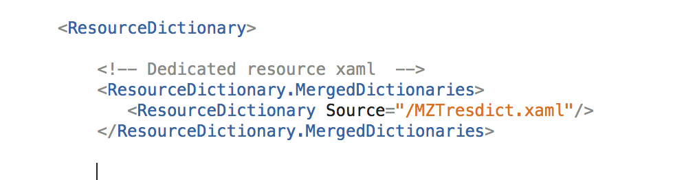 How do I reference one XAML MergedDictionary from another