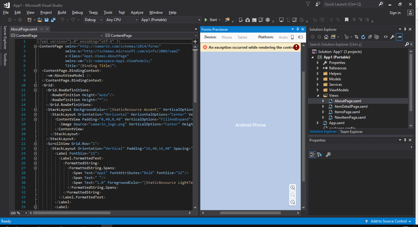 Visual Studio 2017 Final Xamarin Forms Previewer
