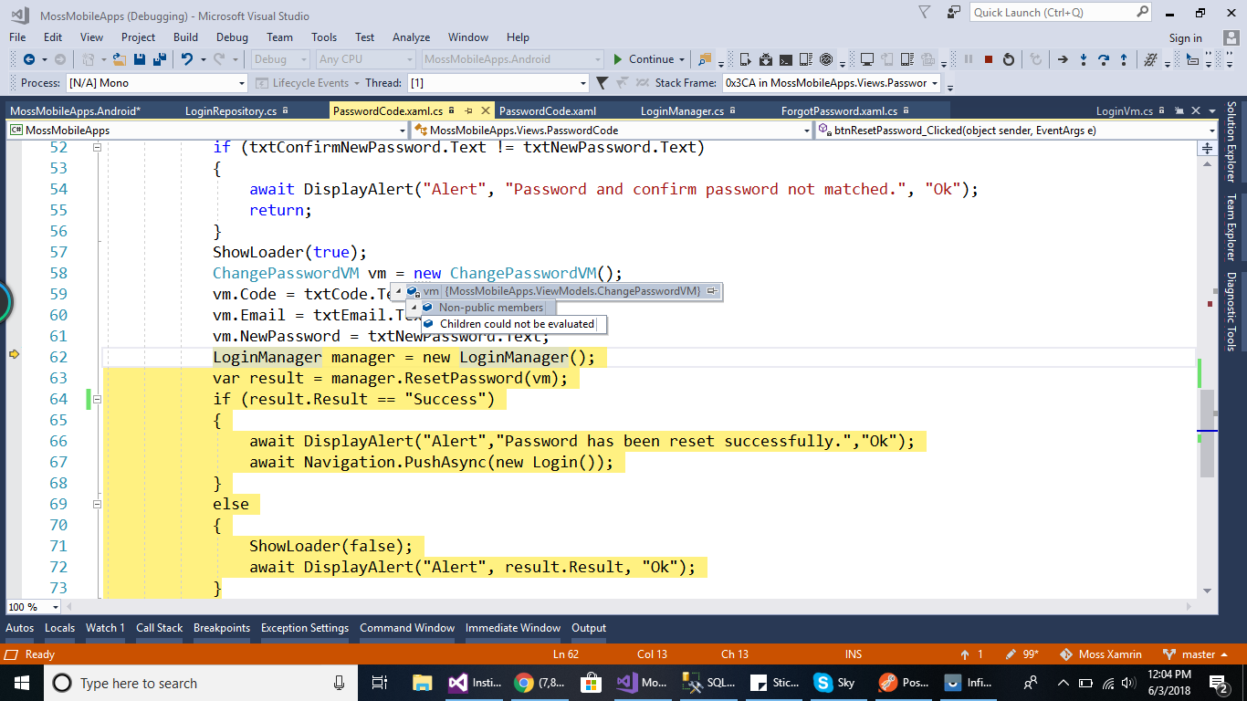 C# object not populating — Xamarin Community Forums