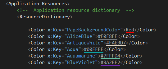 Color names only have very limited support in XAML — Xamarin
