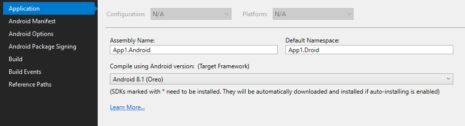 Project XYZ Droid cannot build using TargetFramework v8 1