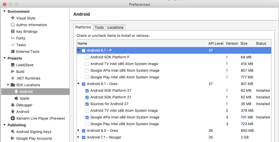 Target Android SDK 27 with Xamarin Android project — Xamarin