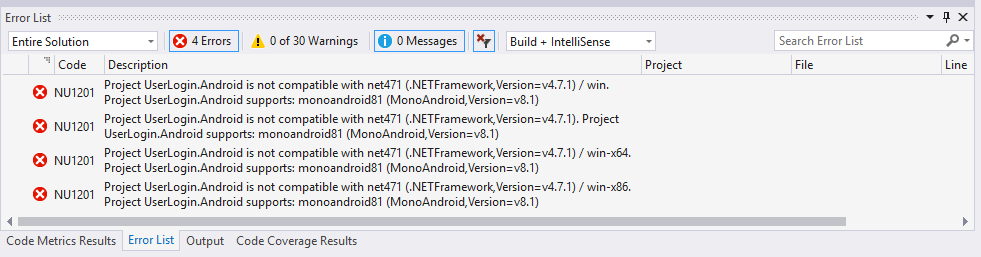Errors when referenace android project to ui test project