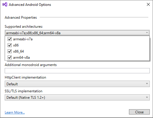 Update android app to support 64-bit architecture — Xamarin
