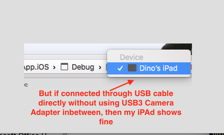 Connecting device through camera adapter will not show device in VS