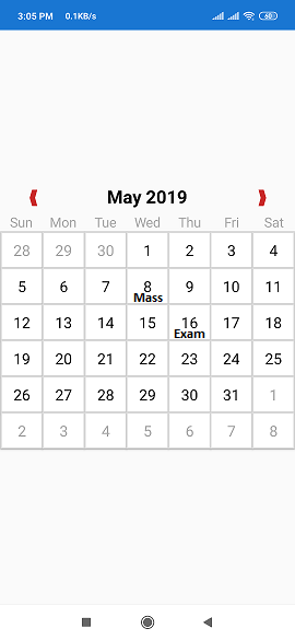 Xamarin forms: How to add events in `XamForms Controls Calendar