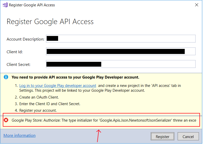 Cannot authorize Xamarin to access Google Play account — Xamarin