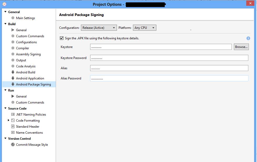Debug Build Missing Parameter: Keystore — Xamarin Community Forums