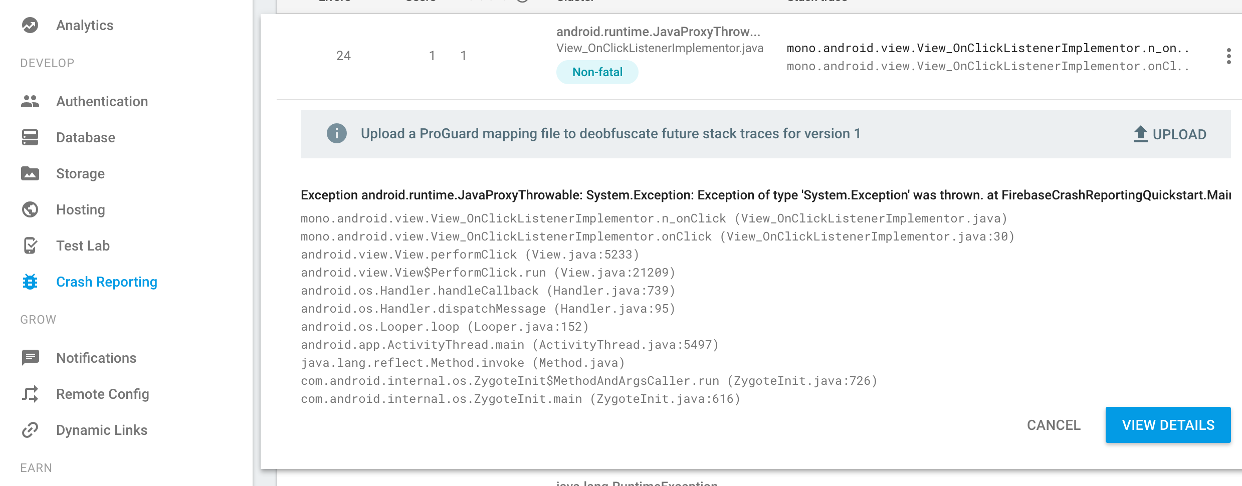 Not getting actual stack trace in Firebase Crash Reporting