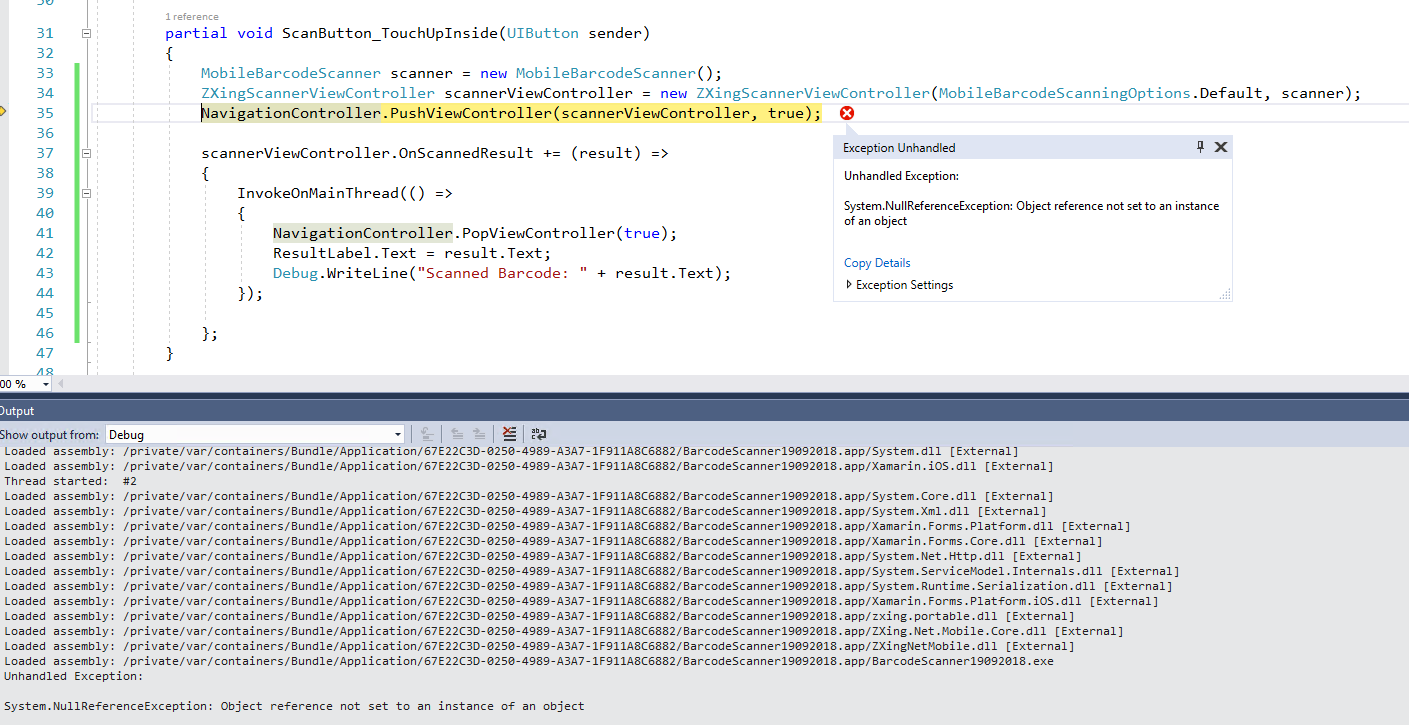 ZXingScannerPage is not opening to read QR Code — Xamarin