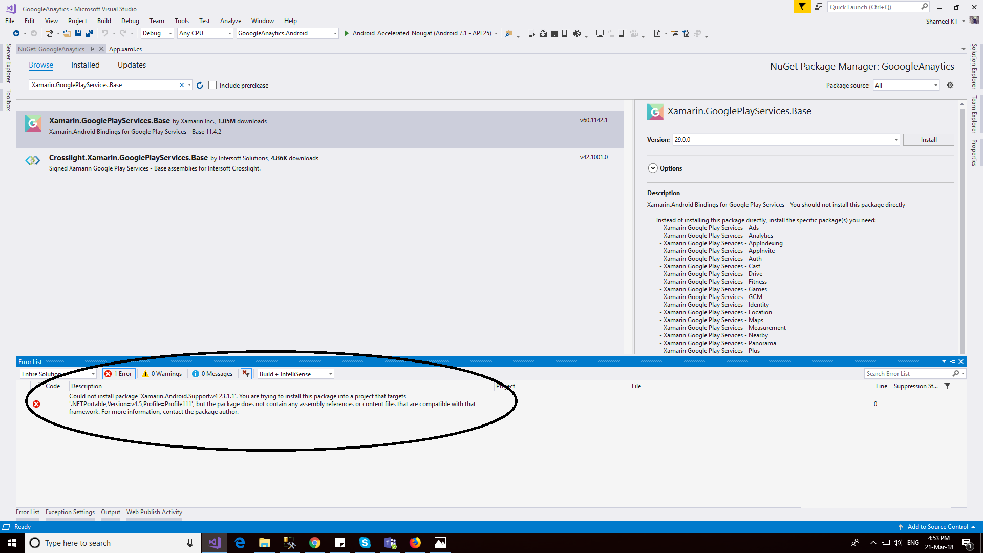 Could not install package 'Xamarin GooglePlayServices Base 42 1021 1