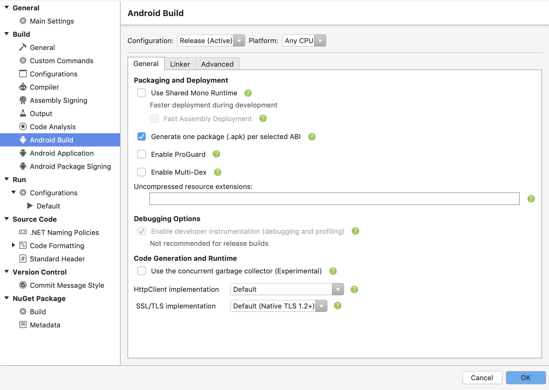 Build configurations fpr armeabi, armeabi-v7a and x86