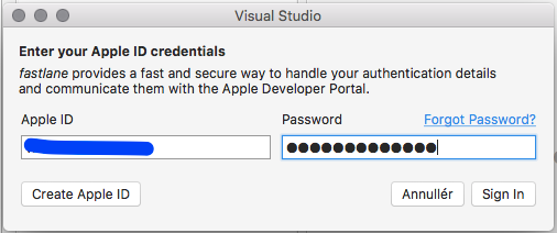 I can not add Apple Developer Account (Apple ID) to Visual