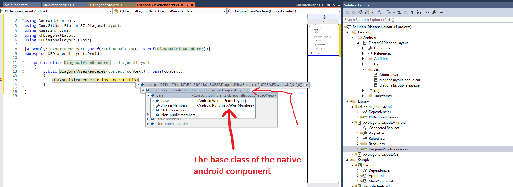 Consume native android library in Xamarin Forms that is UI