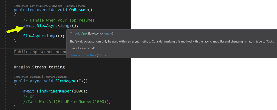 Calling async methods from main thread is a bad idea