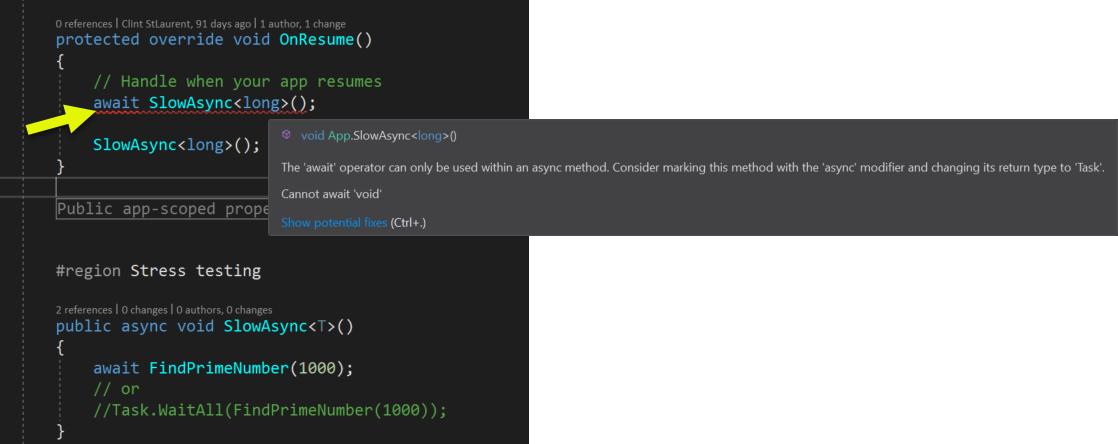 Calling async methods from main thread is a bad idea? — Xamarin