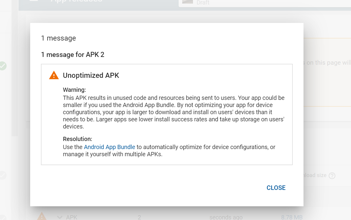 Error while uploading the apk into google play store
