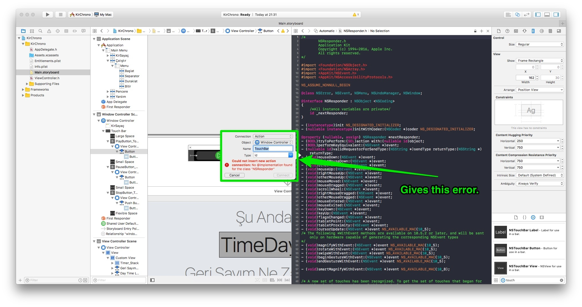 How to Create Action for NSTouchBarButton with Xcode ? — Xamarin