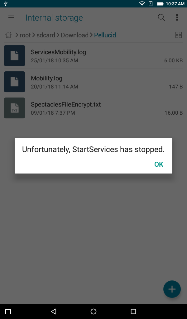 Reboot up time Unfortunately app services has stopped error shows