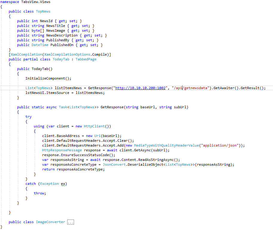 Does not get response from REST API in Xamarin forms application