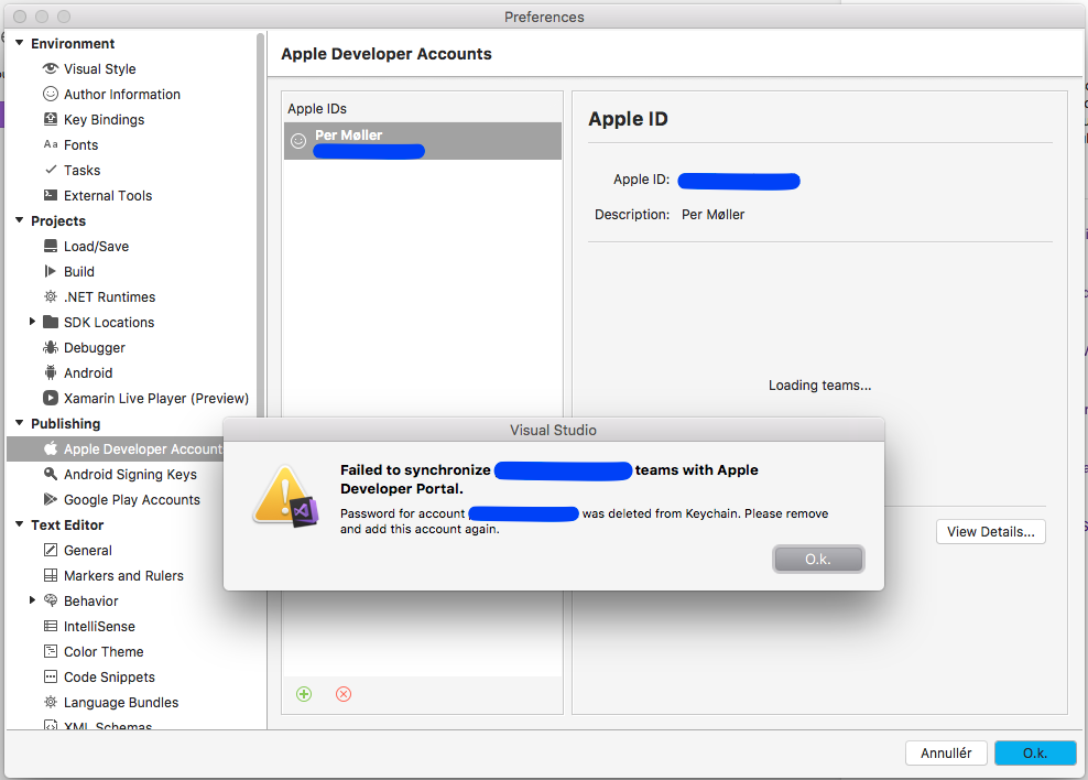 I can not add Apple Developer Account (Apple ID) to Visual Studio