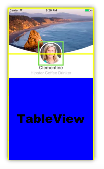 Reducing the size of a fixed header while scrolling a TableView
