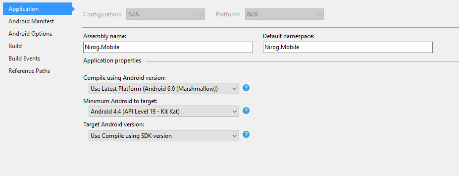 Setting Minimum and Target Android versions — Xamarin