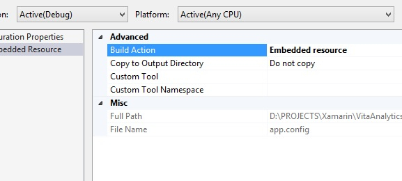 Set a file's build action to 'Embedded resource' from app