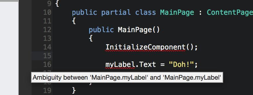 Intellisense (C#) not working for XAML objects? — Xamarin