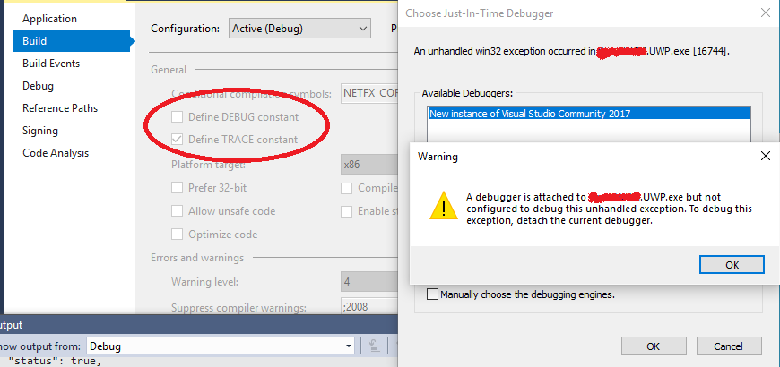Showing DISABLE_XAML_GENERATED_BINDING_DEBUG_OUTPUT when