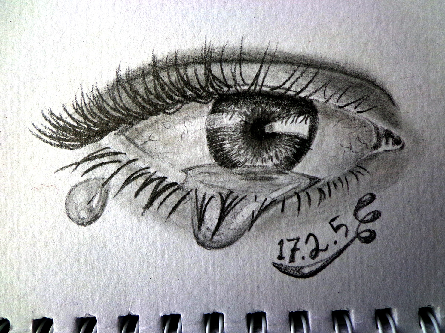 how to draw a eye with a tear