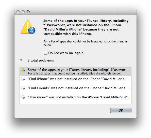 1Password not compatible with this iPhone [Using iTunes to download