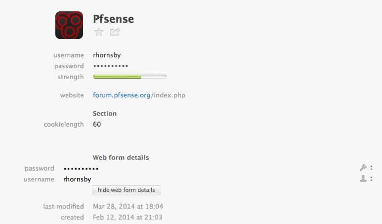 auto-fill too many fields on pfsense forum login — 1Password