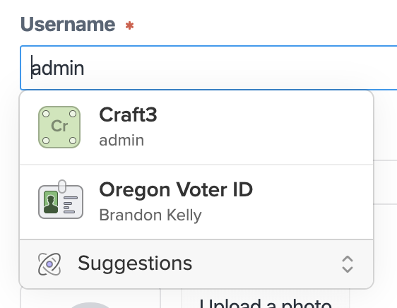 The Username field on the My Account page in Craft CMS, with the 1Password X accounts menu visible below it